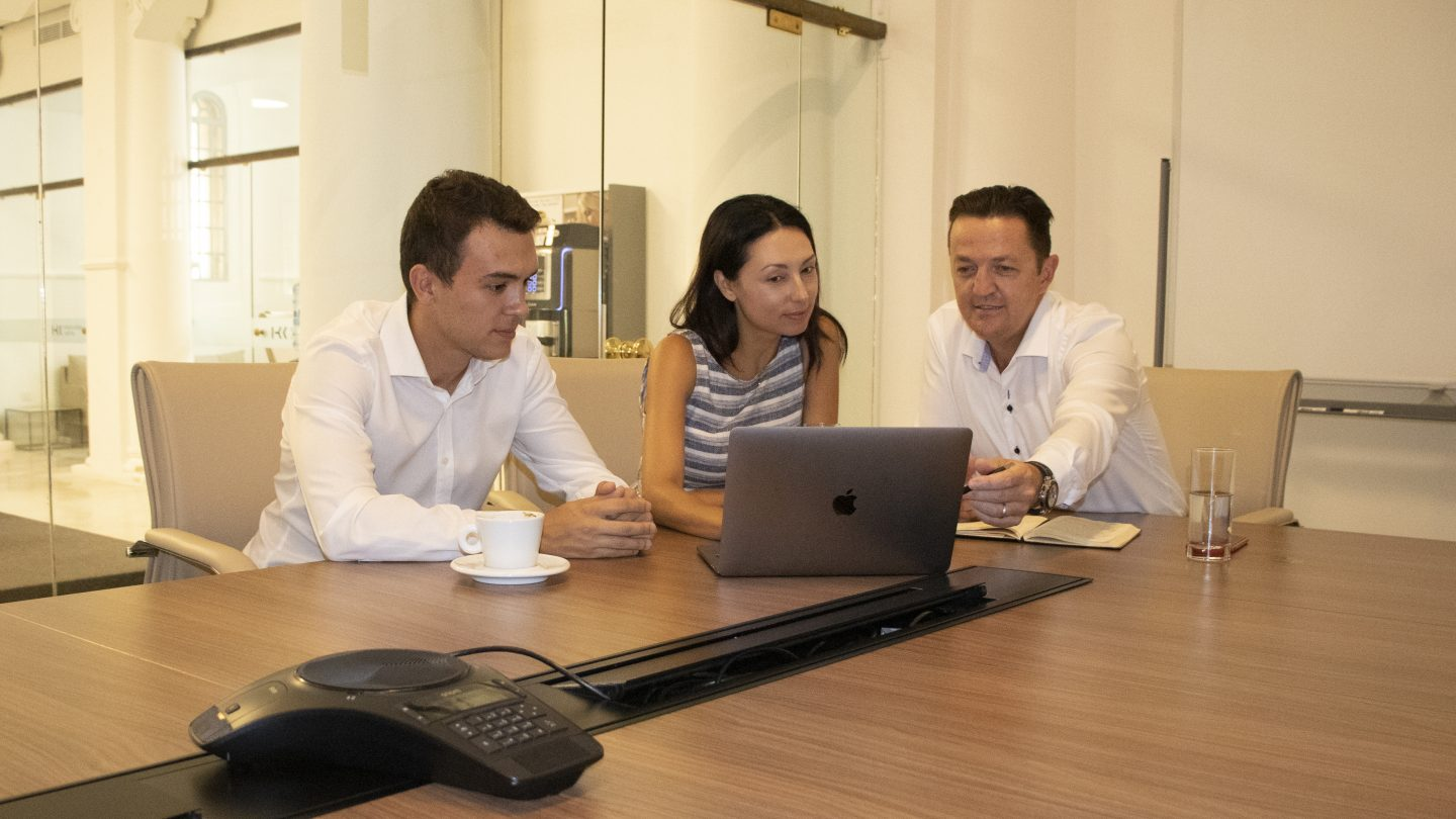 Our team working on the website